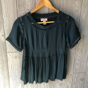 Loft Outlet Forest Green Baby Doll Blouse